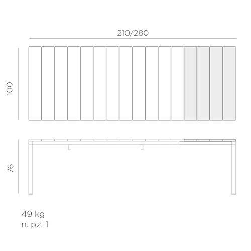 Nardi Tuintafel - RIO - Antraciet - Uitschuifbaar 210/280 cm - Nardi
