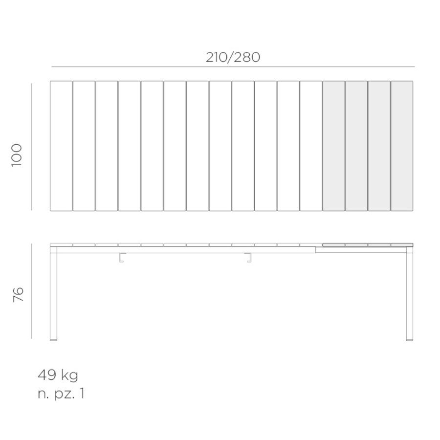 Tuintafel - RIO - Antraciet - Uitschuifbaar 210/280 cm - Nardi-10