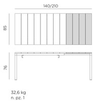thumb-Tuintafel - RIO - Wit - Uitschuifbaar 140/210 cm - Nardi-10