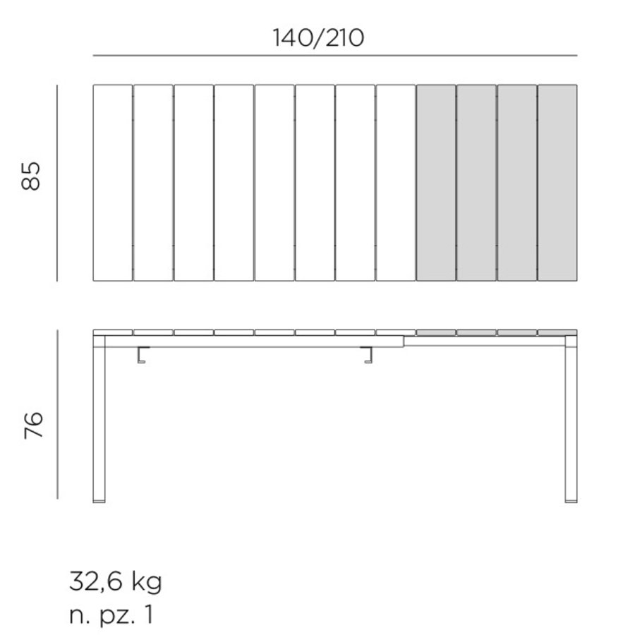 Tuintafel - RIO - Taupe - Tortora - Uitschuifbaar 140/210 cm - Nardi-6