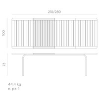 thumb-Tuintafel - Alloro - Wit/Taupe - Uitschuifbaar 210/280 cm - Nardi-10