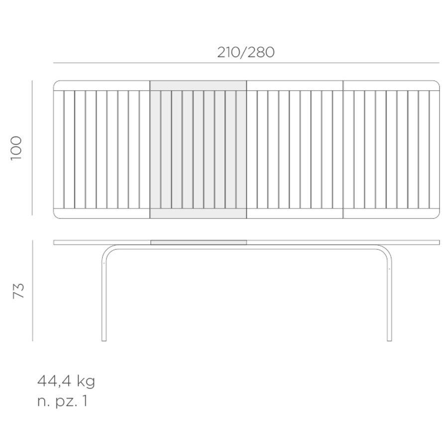 Tuintafel - Alloro - Wit/Taupe - Uitschuifbaar 210/280 cm - Nardi-10