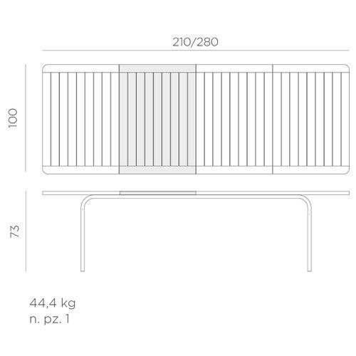 Nardi Tuintafel - Alloro - Antraciet - Uitschuifbaar 210/280 cm - Nardi