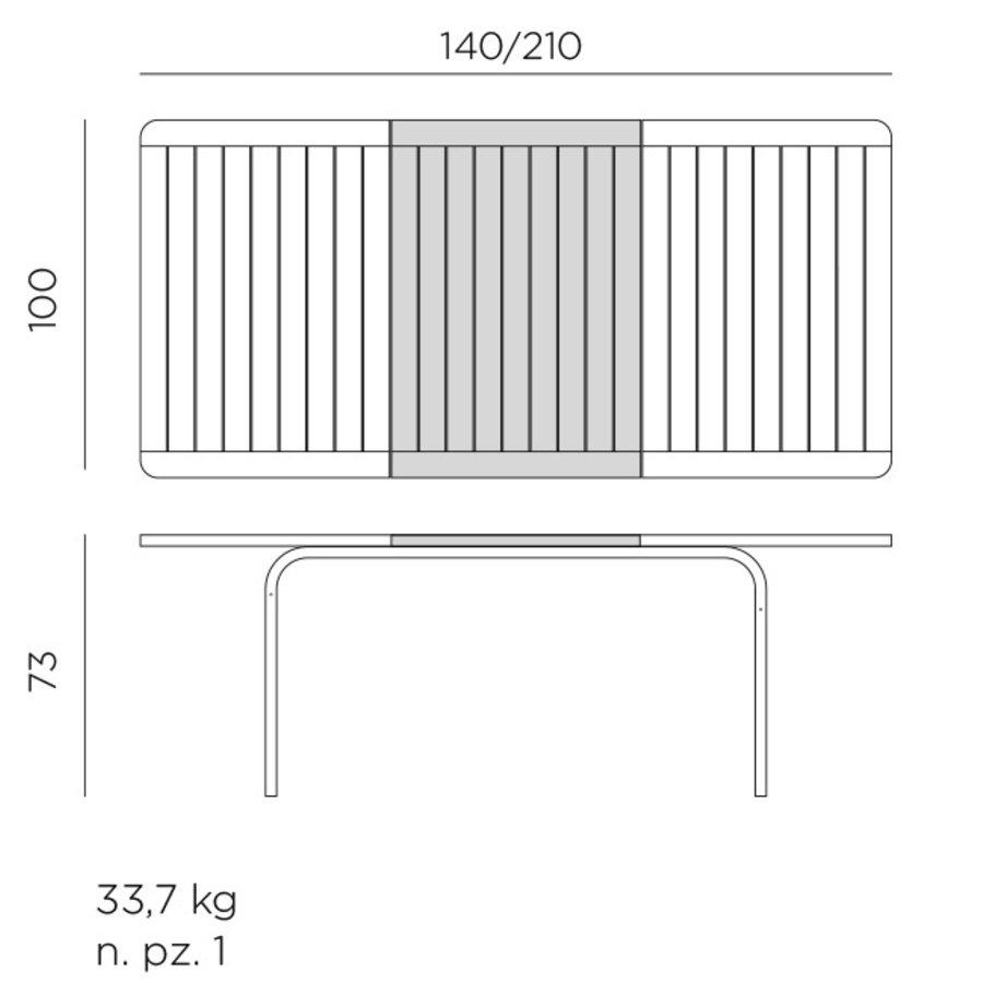 Tuintafel - Alloro - Taupe - Uitschuifbaar 140/210 cm - Nardi-8