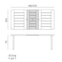 thumb-Tuintafel - Maestrale - Antraciet - Uitschuifbaar 160/220 cm - Nardi-10
