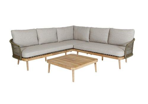 Hoek Loungeset - Maui - Olive - Acacia/Rope - Garden Interiors
