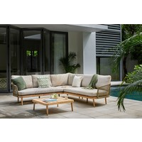 thumb-Hoek Loungeset - Maui - Olive - Acacia/Rope - Garden Interiors-2