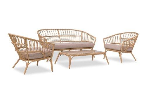 Stoel-Bank Loungeset - Lenco - Bamboo Look - Wicker - Garden Interiors
