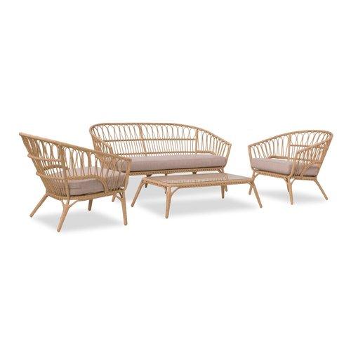 Garden Interiors Stoel-Bank Loungeset - Lenco - Bamboo Look - Wicker - Garden Interiors