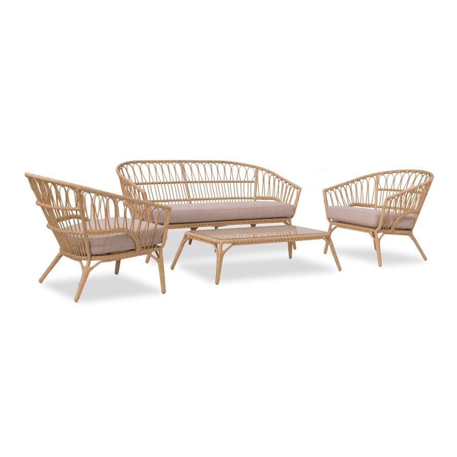 Stoel-Bank Loungeset - Lenco - Bamboo Look - Wicker - Garden Interiors-1