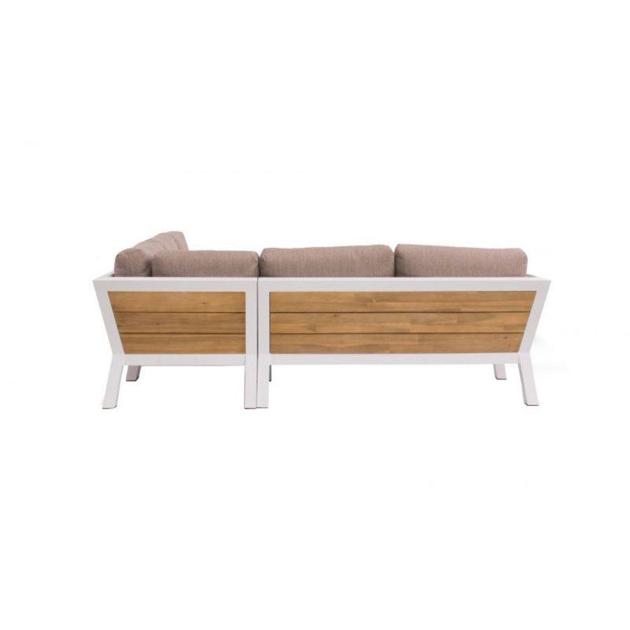 Hoek Loungeset - Valongo - Wit - Aluminium/Acacia - Garden Interiors-4