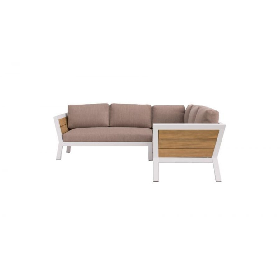 Hoek Loungeset - Valongo - Wit - Aluminium/Acacia - Garden Interiors-3