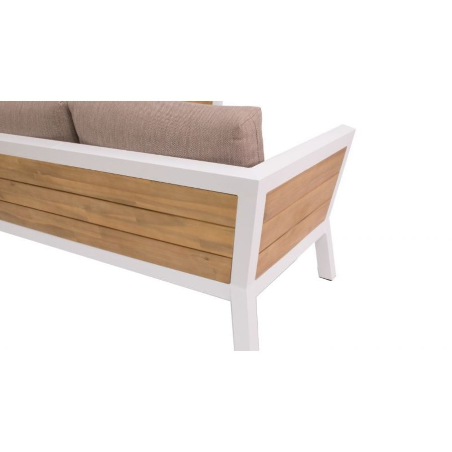 Hoek Loungeset - Valongo - Wit - Aluminium/Acacia - Garden Interiors-5