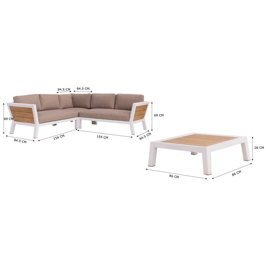 Hoek Loungeset - Valongo - Wit - Aluminium/Acacia - Garden Interiors-9