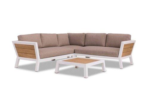 Hoek Loungeset - Valongo - Wit - Aluminium/Acacia - Garden Interiors