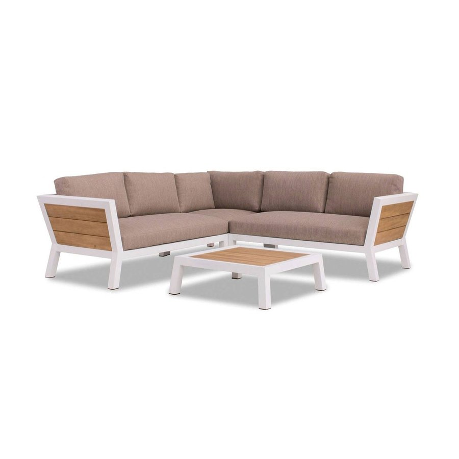 Hoek Loungeset - Valongo - Wit - Aluminium/Acacia - Garden Interiors-1