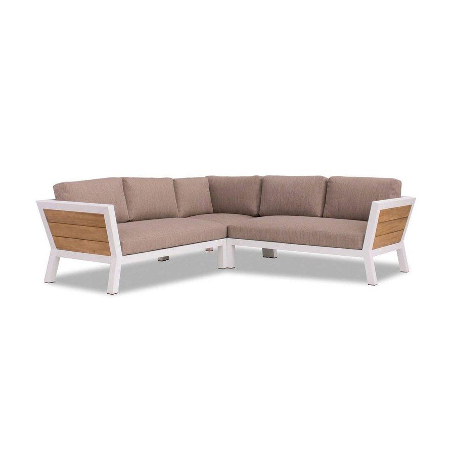 Hoek Loungeset - Valongo - Wit - Aluminium/Acacia - Garden Interiors-2