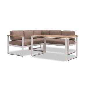 Garden Interiors Dining Loungeset - Melton - Wit/Taupe - Aluminium/Acacia - Garden Interiors