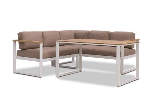 Dining Loungeset - Melton - Wit/Taupe - Aluminium/Acacia - Garden Interiors