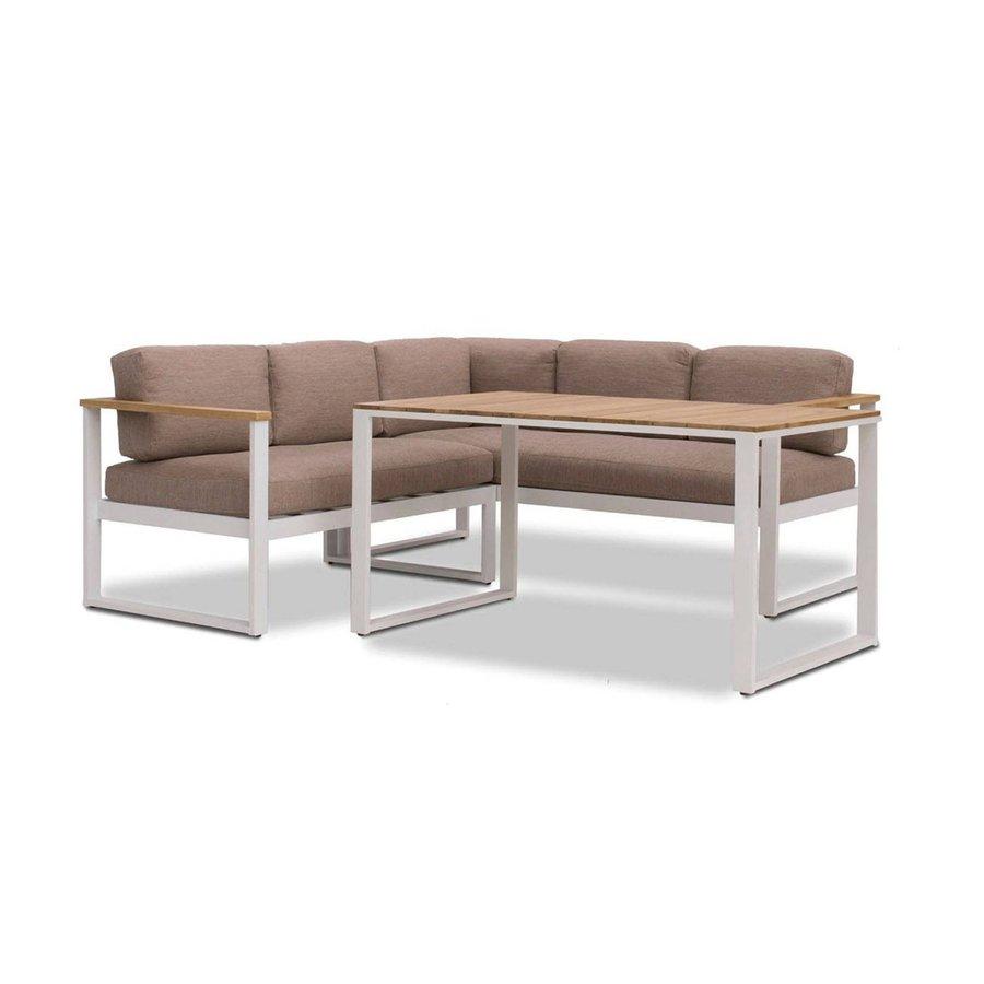 Dining Loungeset - Melton - Wit/Taupe - Aluminium/Acacia - Garden Interiors-1