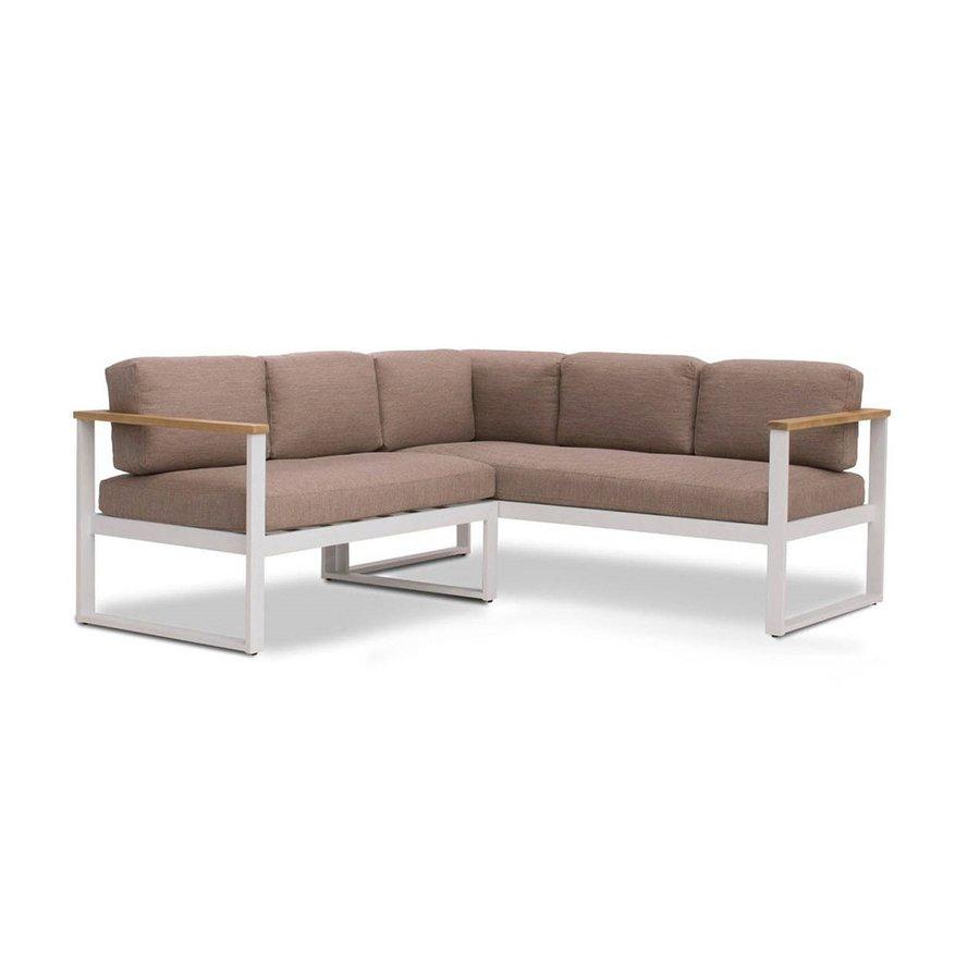Dining Loungeset - Melton - Wit/Taupe - Aluminium/Acacia - Garden Interiors-2