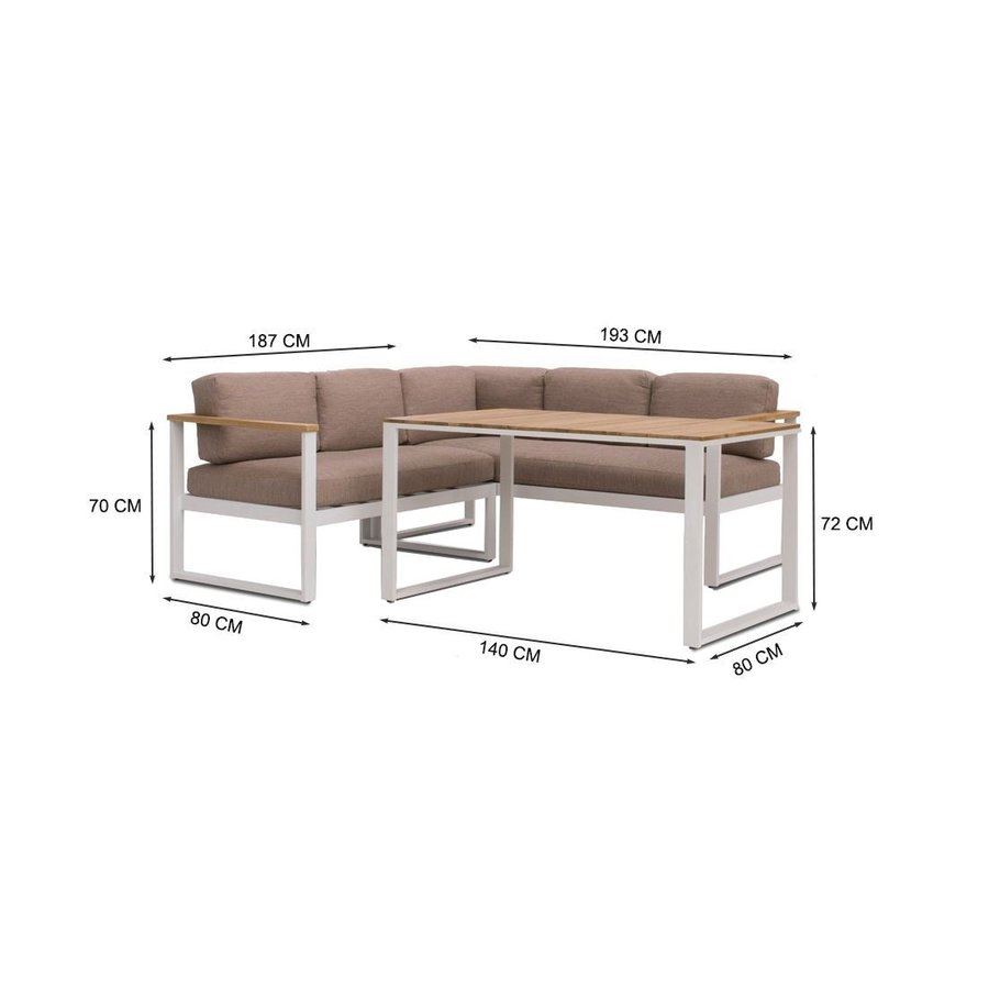 Dining Loungeset - Melton - Wit/Taupe - Aluminium/Acacia - Garden Interiors-8