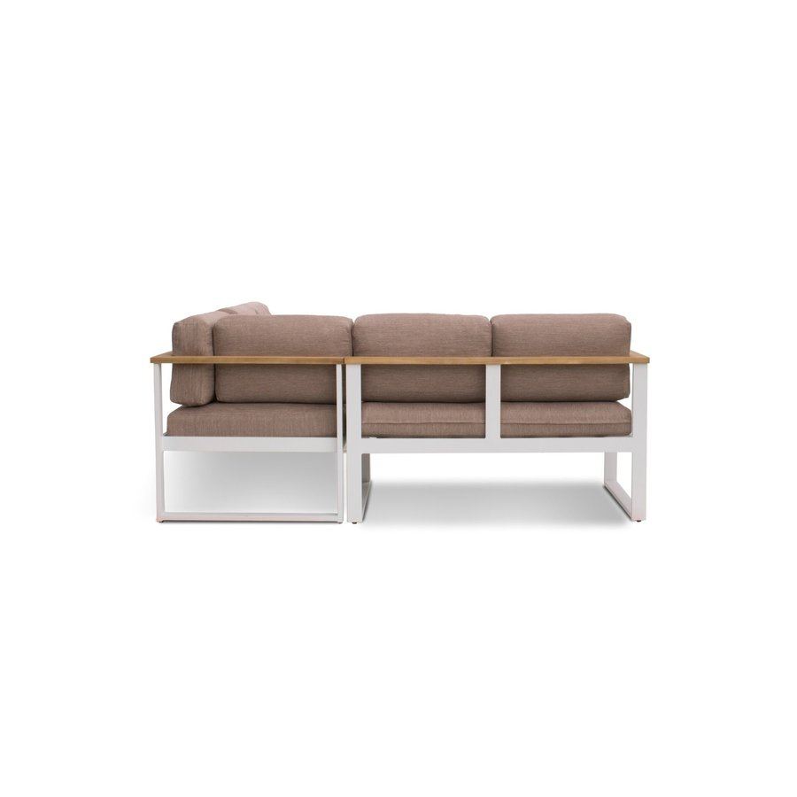Dining Loungeset - Melton - Wit/Taupe - Aluminium/Acacia - Garden Interiors-4