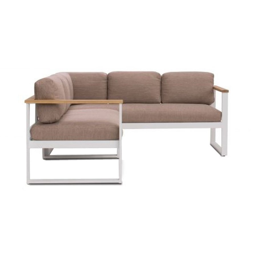 Dining Loungeset - Melton - Wit/Taupe - Aluminium/Acacia - Garden Interiors-3