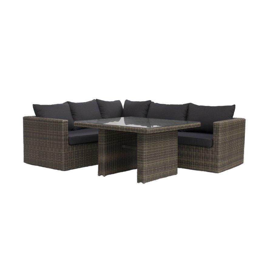 Dining Loungeset - Roma - Wicker - Donkergrijs - Garden Interiors-1
