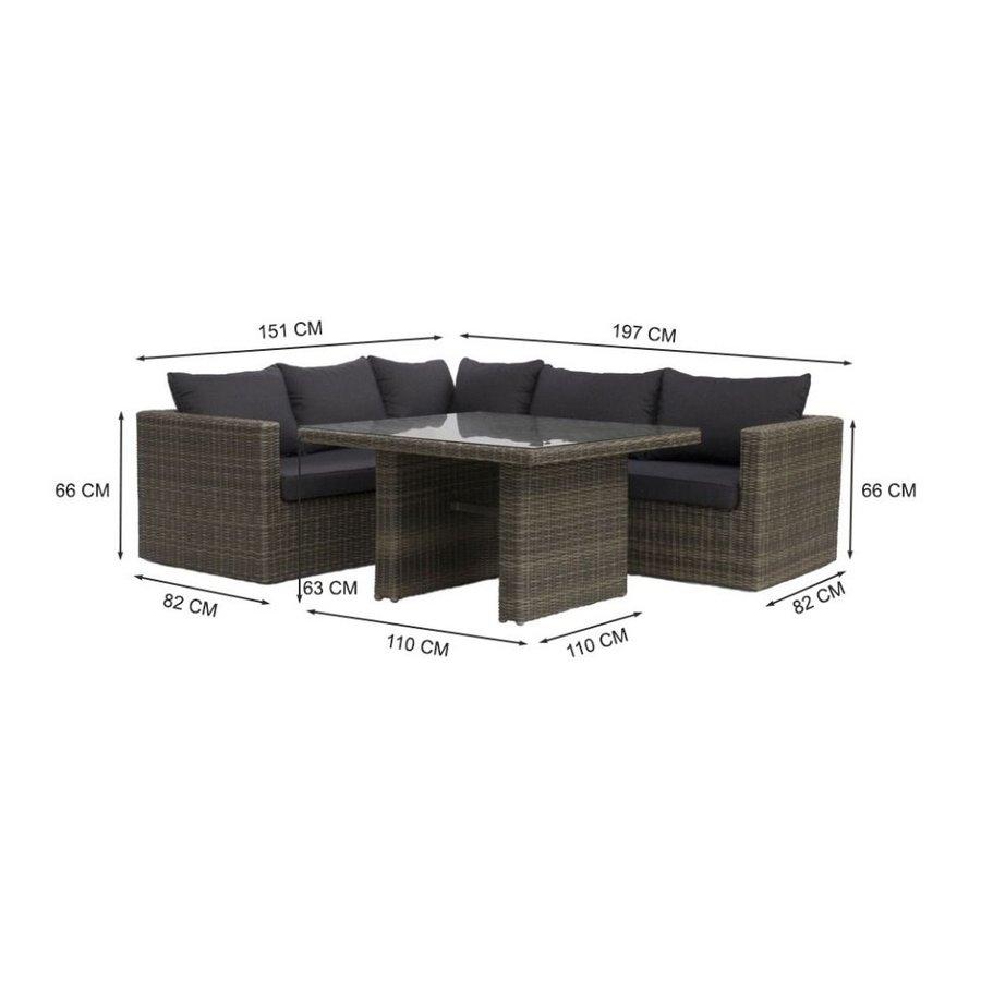 Dining Loungeset - Roma - Wicker - Donkergrijs - Garden Interiors-9