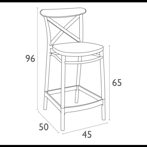 Siesta  Counter Barkruk - 65 cm - Cross - Wit - Siesta