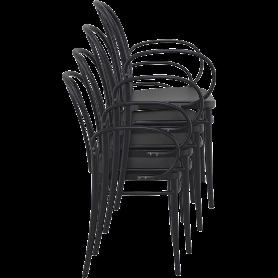 Tuinstoel - Stapelbaar - Zwart - Victor XL - Siesta-6