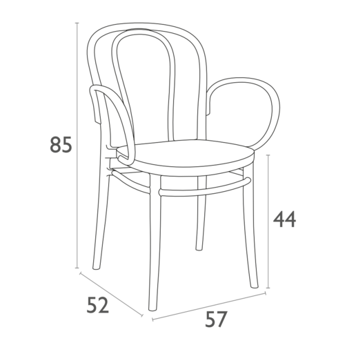 Siesta  Tuinstoel - Stapelbaar - Zwart - Victor XL - Siesta