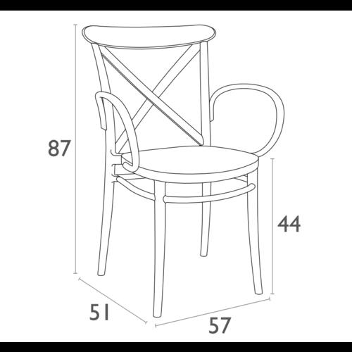 Siesta  Tuinstoel - Stapelbaar - Donkergrijs  - Cross XL - Siesta