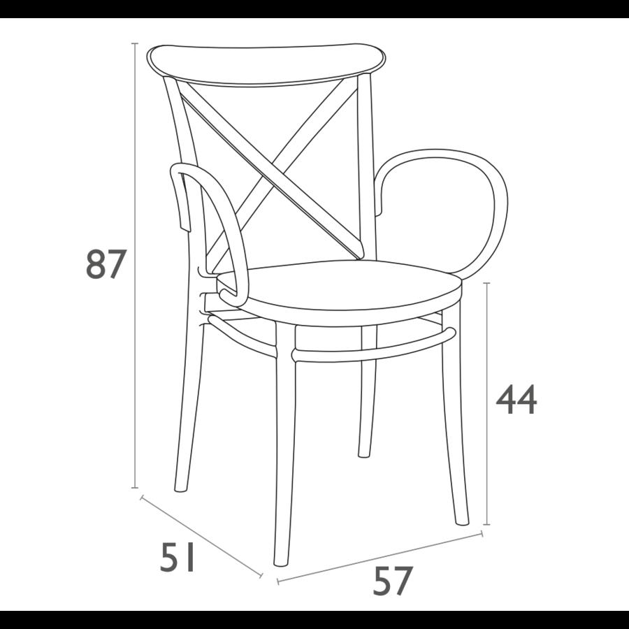 Tuinstoel - Stapelbaar - Taupe - Cross XL - Siesta-9