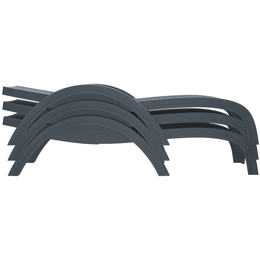 Ligbed - Fiji - Donkergrijs - Stapelbaar - Verstelbare leuning - Siesta-8