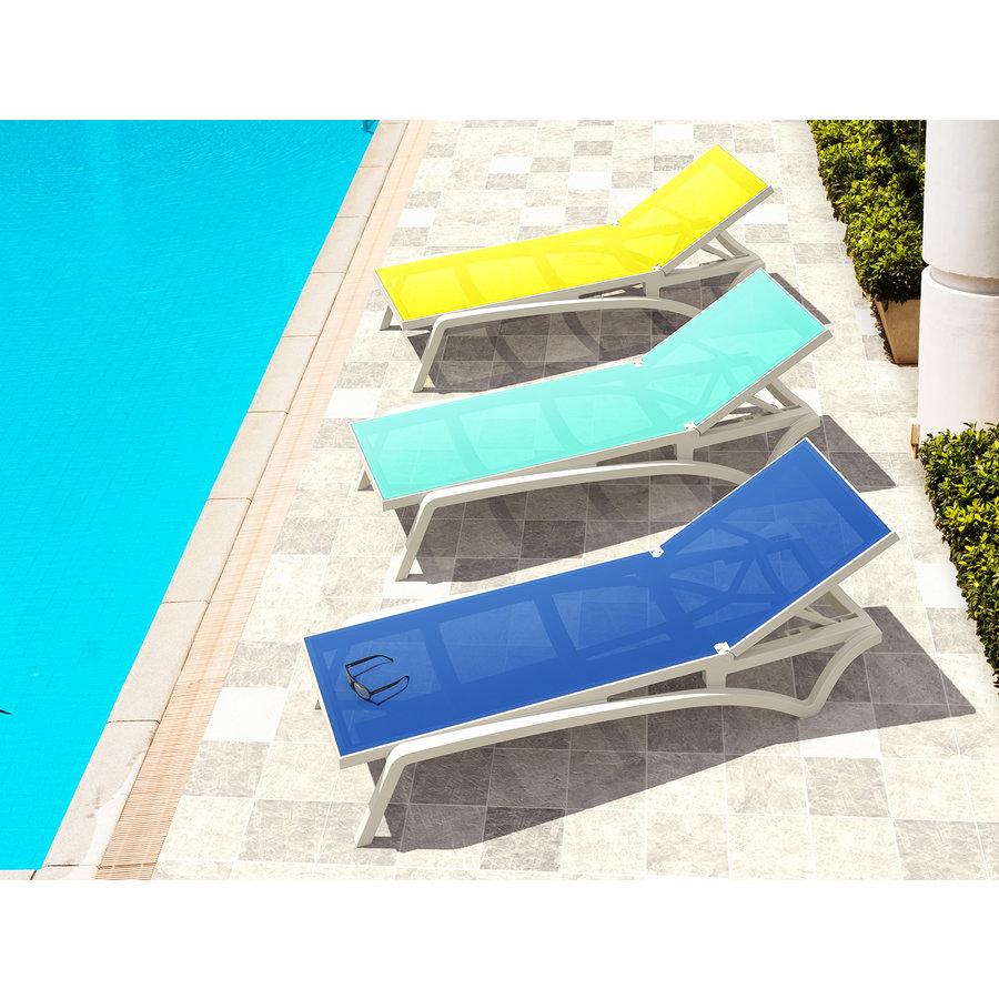 Ligbed - Pacific - Wit - Turquoise - Stapelbaar - Verstelbaar - Siesta-4