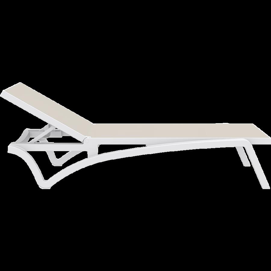 Ligbed - Pacific - Wit - Taupe - Stapelbaar - Verstelbaar - Siesta-10