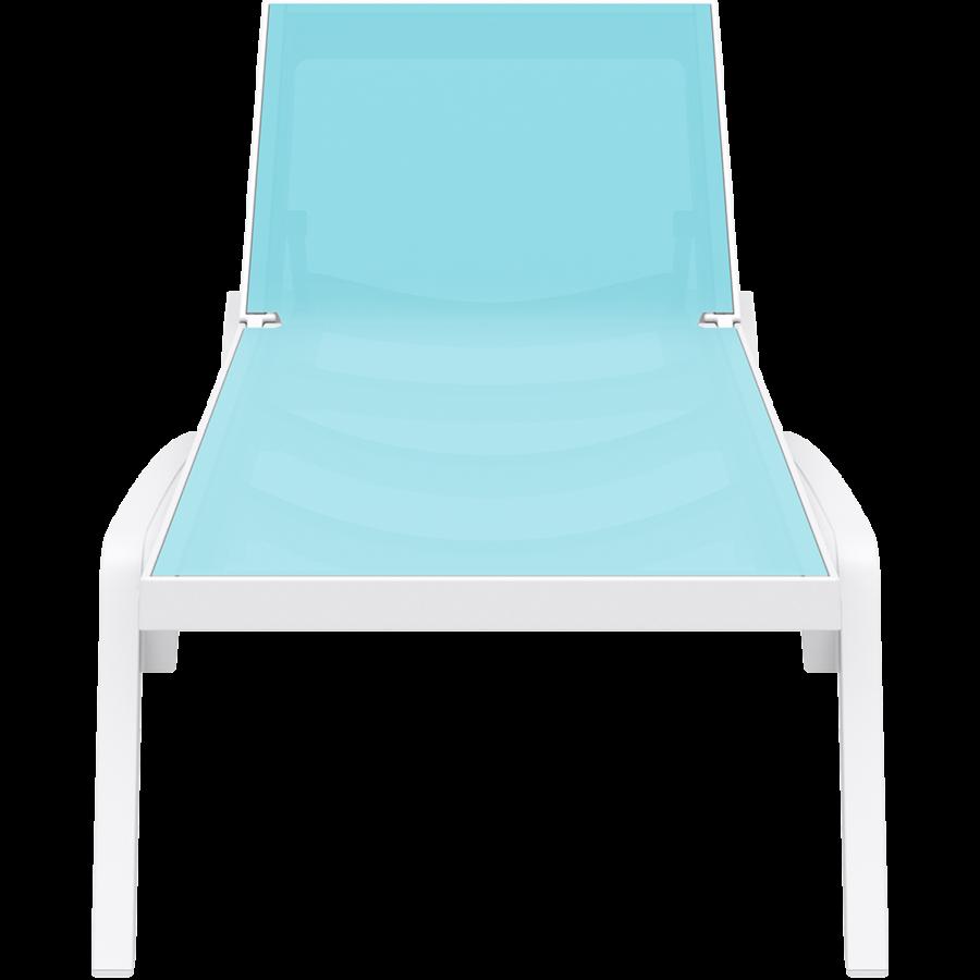 Ligbed - Pacific - Wit - Turquoise - Stapelbaar - Verstelbaar - Siesta-2