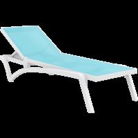 Ligbed - Pacific - Wit - Turquoise - Stapelbaar - Verstelbaar - Siesta