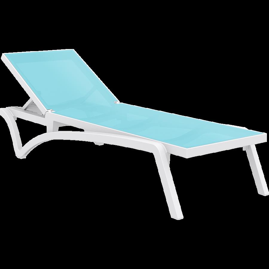 Ligbed - Pacific - Wit - Turquoise - Stapelbaar - Verstelbaar - Siesta-1