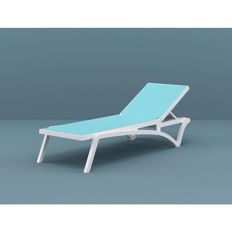 Ligbed - Pacific - Wit - Turquoise - Stapelbaar - Verstelbaar - Siesta-7