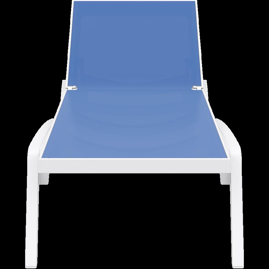 Ligbed - Pacific - Wit - Blauw - Stapelbaar - Verstelbaar - Siesta-2