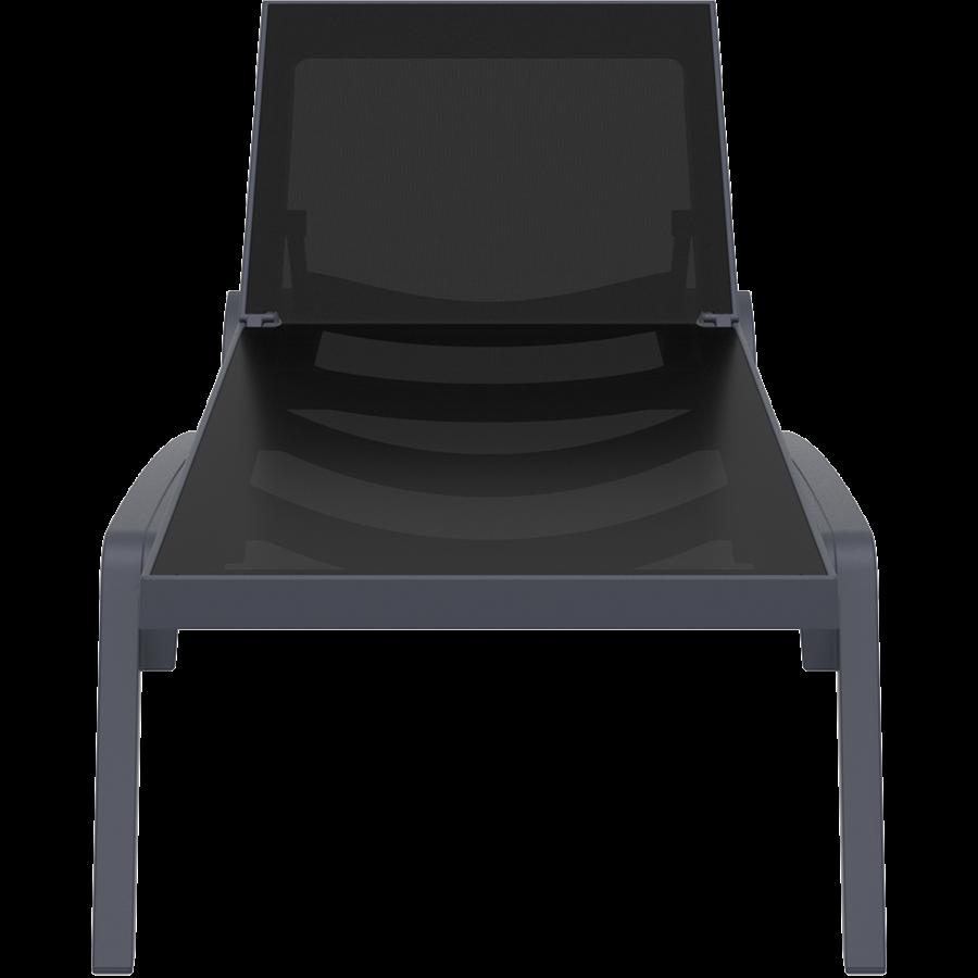 Ligbed - Pacific - Zwart - Donkergrijs - Stapelbaar - Verstelbaar - Siesta-2