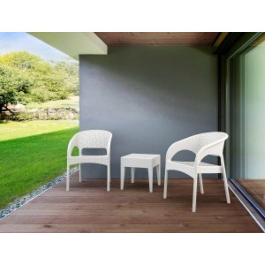 Tuinstoel - Panama - Wit - Wicker Look - Siesta-3