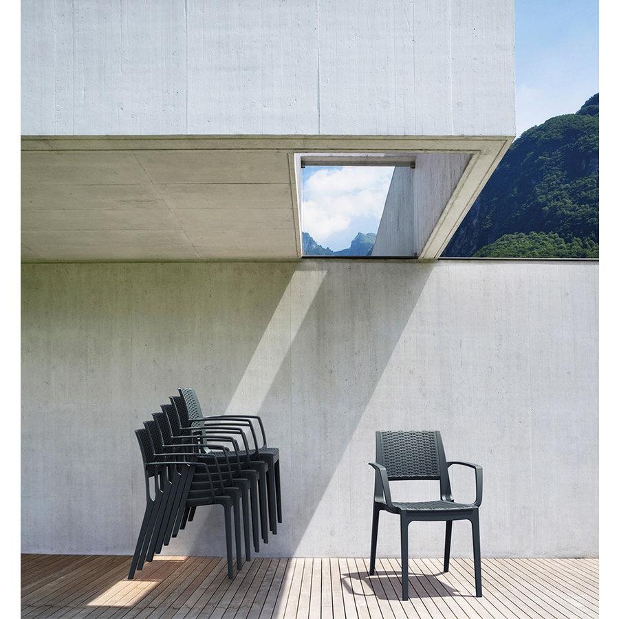 Tuinstoel - Capri - Donkergrijs - Wicker Look - Siesta-3