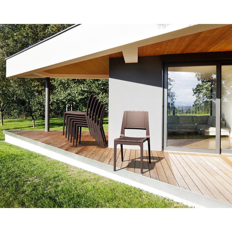 Tuinstoel - Verona - Bruin - Wicker Look - Siesta-4