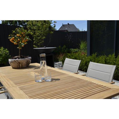 Lesli Living  Tuinstoel Stapelbaar - Marmaris - Grijs - Teak/RVS - Lesli Living