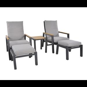 Lesli Living  Lounge Tuinstoelen - Duoset Coda - Charcoal - Lesli Living