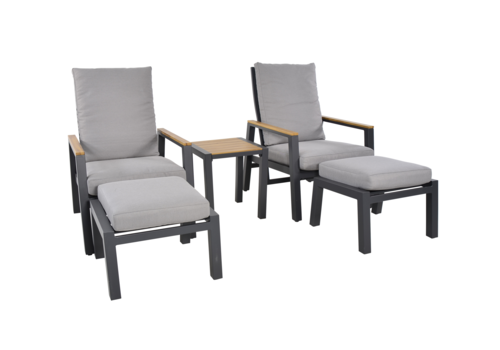 Lounge Tuinstoelen - Duoset Coda - Charcoal - Lesli Living